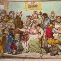 Cartoon by British satirist James Gillray caricatured a scene at the Smallpox and Inoculation Hospital at St. Pancras, showing cowpox vaccine, 1802